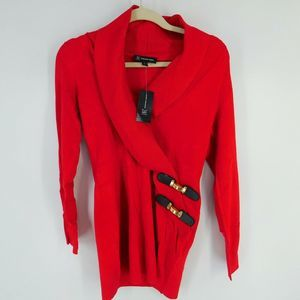 INC Sweater Size S Small Faux Wrap Red Knit Long